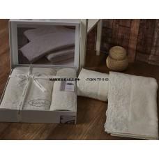 "Комп махровых полотенец c гипюр ""KARNA"" ELINDA 50x90-70х140 см"